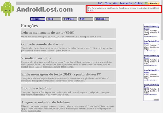 Faça o login de sua conta Google para utilizar os comandos remotos pelo browser (Foto: Reprodução/Daniel Ribeiro)