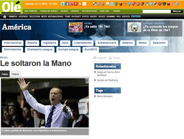 Printo, matéria Mano no Ole (Foto: Reprodução)