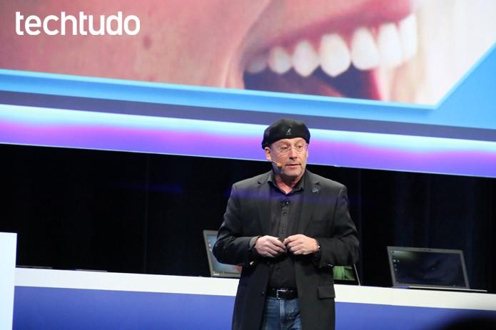 Mooly Eden comandou o show na apresentação da Intel (Foto: Fabrício Vitorino/TechTudo)