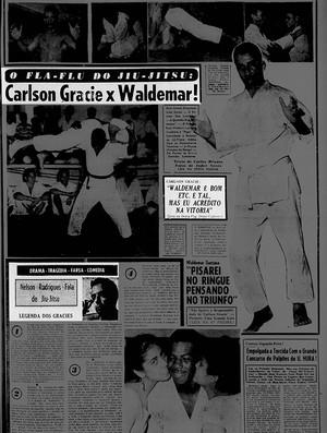 MMa Maracanazinho, Última Hora, 8/10/1955, Waldemar Santana x Carlson Gracie (Foto: Reprodução / Jornal Última Hora)