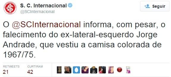 Inter morte ex-lateral Jorge Andrade (Foto: Reprodução / Twitter)
