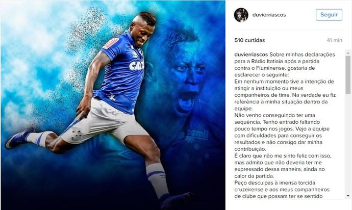 Riascos se pronunciou após as declarações (Foto: Reprodução / Instagram)