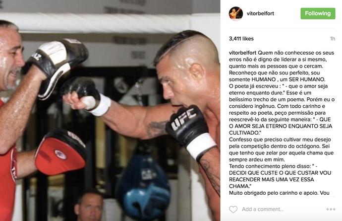Vitor Belfort; aposentadoria; instagram (Foto: Reprodução/ Instagram)