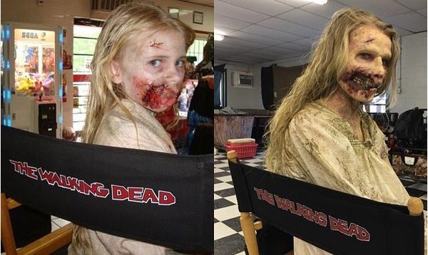 A atriz Addy Miller revivendo sua personagem em The Walking Dead (Foto: Instagram)