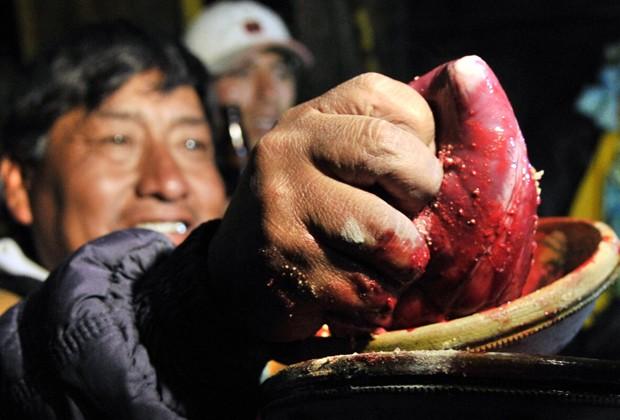 """Um mineiro boliviano na região de Oruro segura um coração de lhama cru durante o """"Wilancha"""", um ritual de sacrifício de animais para a """"mãe Terra"""" realizado na época do Carnaval (Foto: Aizar Raldes/AFP)"""