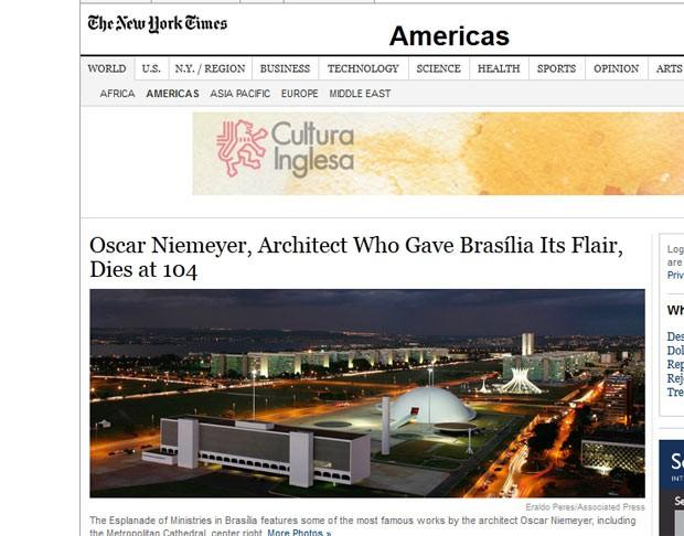 O obituário do 'New York Times' afirma que Niemeyer capturou a atenção de gerações de arquitetos. 'Suas formas curváceas, líricas, hedonistas ajudaram a dar forma a uma arquitetura nacional distinta e a uma moderna identidade para o Brasil, que quebrou com seu passado colonial e barroco', diz o texto (Foto: Reprodução)