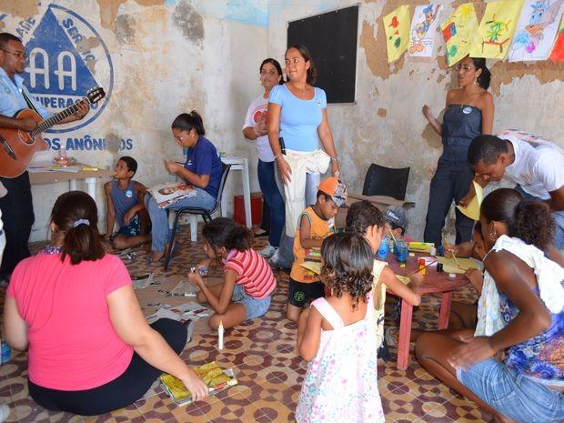 Crianças participaram de atividades de recreação durante o evento (Foto: Marina Fontenele/G1 SE)
