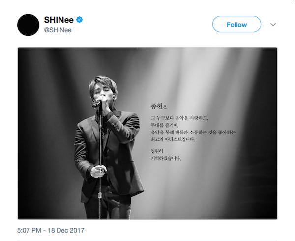 A homenagem feita pelos colegas de banda de Kim Jong-hyun (Foto: Twitter)