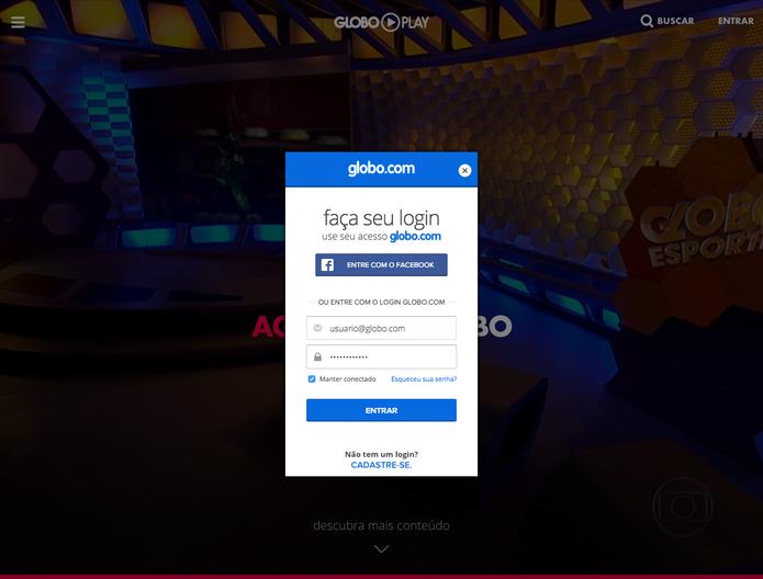 Globo Play requer login da Globo.com (Foto: Reprodução/TechTudo)
