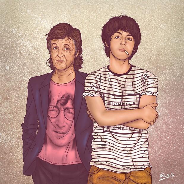 Paul McCartney aparece com camiseta com o rosto de John Lennon em homenagem do colombiano Fulaleo (Foto: Behance/Fulaleo)