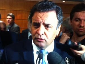 O senador e presidente do PSDB, Aécio Neves, antes de palestra em São Paulo (Foto: Paulo Toledo Piza/G1)