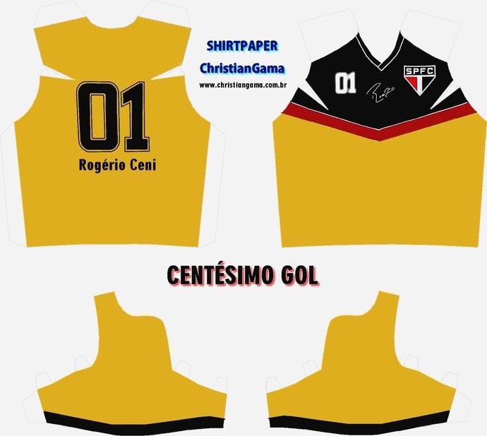 (NÃO USAR) Camisa Rogério Ceni centésimo gol (Foto: GloboEsporte.com)
