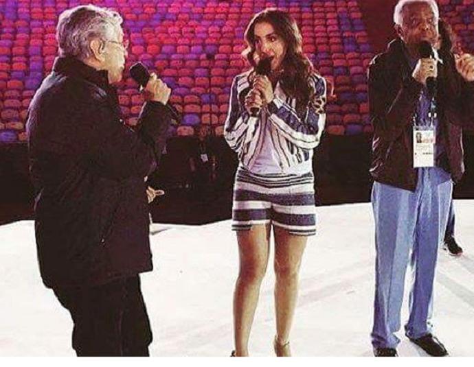 Anitta com Caetano e Gil (Foto: Reprodução / Twitter)