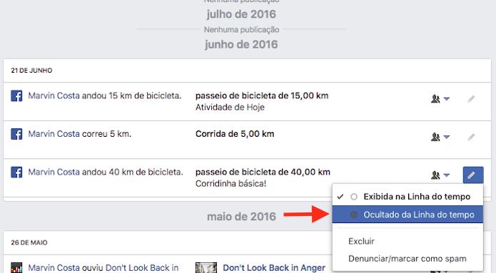 Opções para retirar da linha do tempo do Facebook a atividade de um aplicativo (Foto: Reprodução/Marvin Costa)