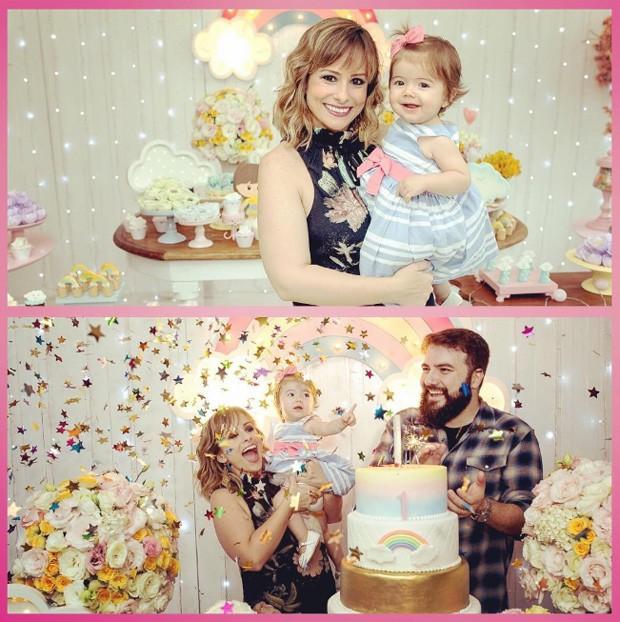 Duda Little com a filha, Ana Laura, e o marido, Rodrigo Martins Veiga (Foto: Reprodução/Instagram)