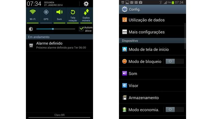 Selecione o brilho configurado em sua barra de notificações ou desligue o Modo de Economia para que a tela de seu browser pare de escurecer (Foto: Reprodução/Daniel Ribeiro)