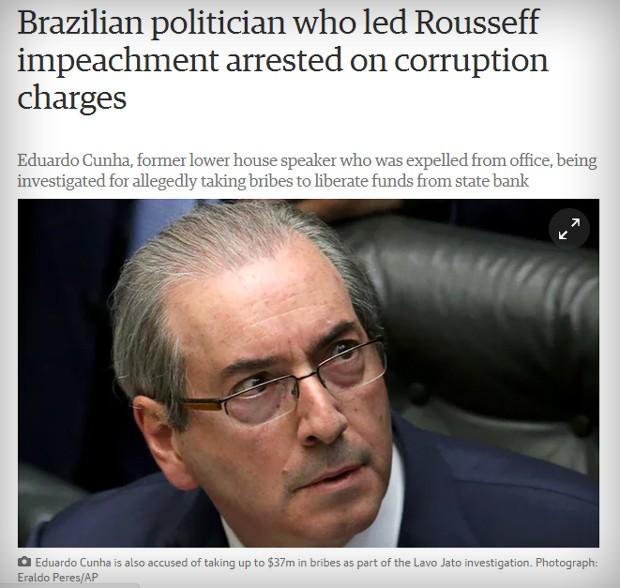 Matéria sobre Cunha no britânico The Guardian (Foto: Reprodução)