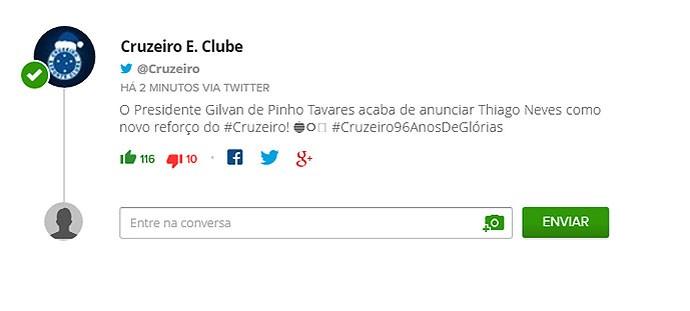 Cruzeiro anuncia Thiago Neves no Twitter, depois apaga post e confirma negociação (Foto: Reprodução/Twitter)