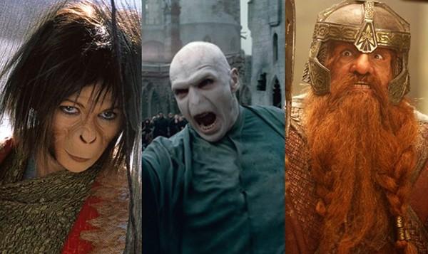 Helena Bonham Carter como Ari, Ralph Fiennes como Lord Voldemort, John Rhys-Davies como Gimli (Foto: Divulgação)