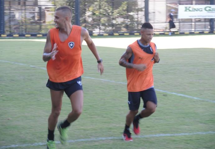 Octávio e Neilton no treino do Botafogo (Foto: Marcelo Baltar)