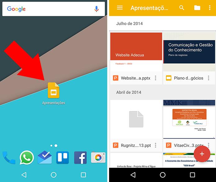 Selecione uma apresentação do Google Slides (Foto: Reprodução/Paulo Alves)