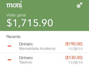 Aplicativo Moni organiza gastos em lista (Foto: Reprodução)