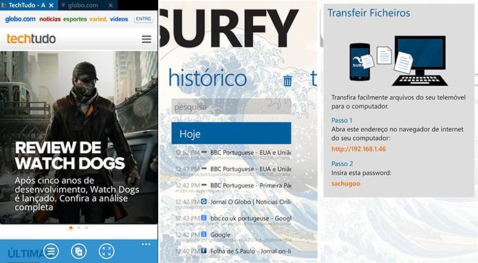 Surfy é um navegador bastante completo para Windows Phone 8 e 8.1 (Foto: Reprodução/Elson de Souza)