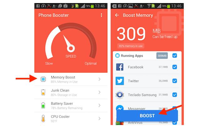 Limpando a memória de um smartphone Android com o aplicativo Super Booster Clean Boost (Foto: Reprodução/Marvin Costa)