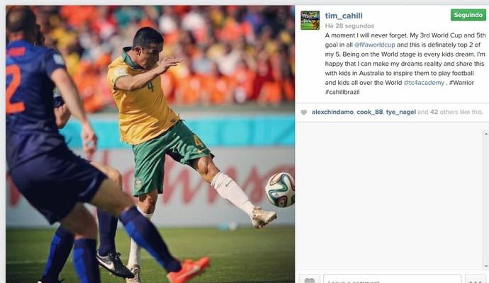 Tim Cahill nas redes sociais (Foto: Reprodução/Instagram)
