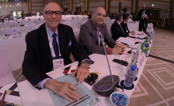 Carlos Arthur Nuzman na Assembleia dos Comitês Olímpicos Nacionais em Doha (Foto: João Gabriel Rodrigues)