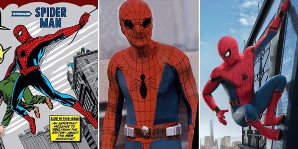 Homem-Aranha nos quadrinhos (1962), na televisão (1977) e no cinema (2017) (Foto: Divulgação)