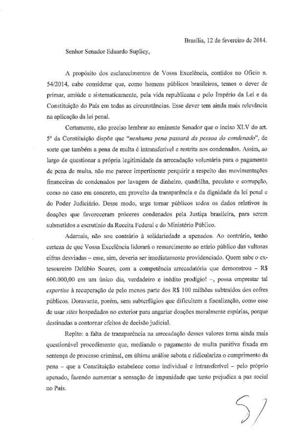 Carta enviada pelo ministro Gilmar Mendes ao senador Eduardo Suplicy (Foto: Reprodução)
