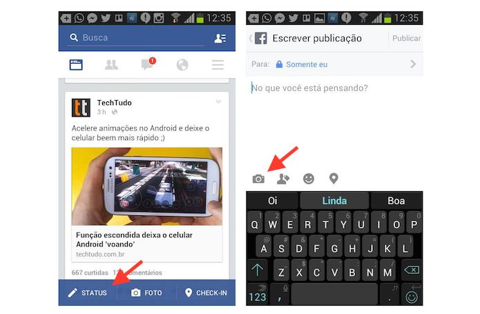 Acessando a ferramenta de atualização de status do Facebook em um dispositivo Android (Foto: Reprodução/Marvin Costa)