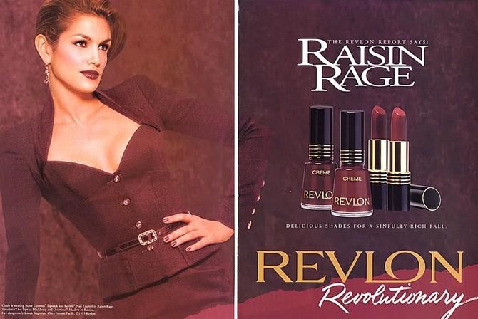 CIndy Crawford em propaganda da Revlon nos anos 1990 (Foto: Reprodução)