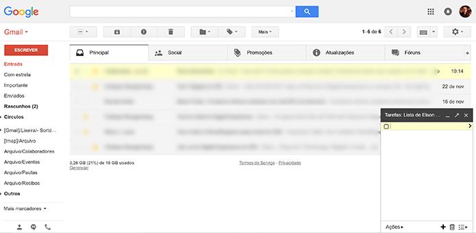 Lista de tarefa aparecerá como janela no canto inferior do Gmail (Foto: Reprodução/Elson de Souza)