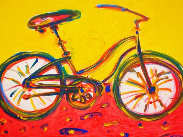 Nas pinturas de bicicletas Cavarelli busca registrar a intesidade dos movimentos  (Foto: Luis Cavalli)