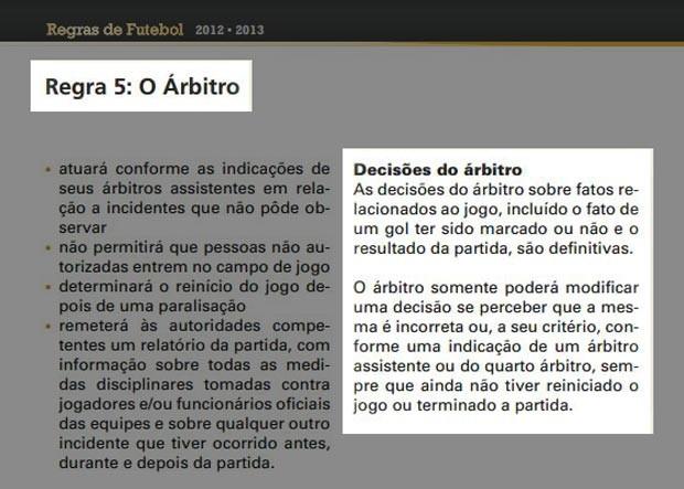 Regras de futebol árbitro regra 5 (Foto: Reprodução)