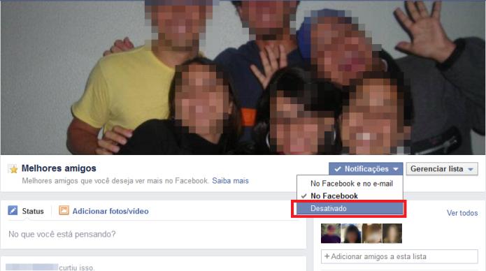 Alterando as notificações da lista de melhores amigos no Facebook (Foto: Reprodução/Lívia Dâmaso)