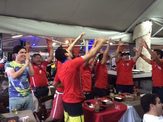 Chilenos acompanham jogo em Copacabana (Foto: Káthia Mello/G1)