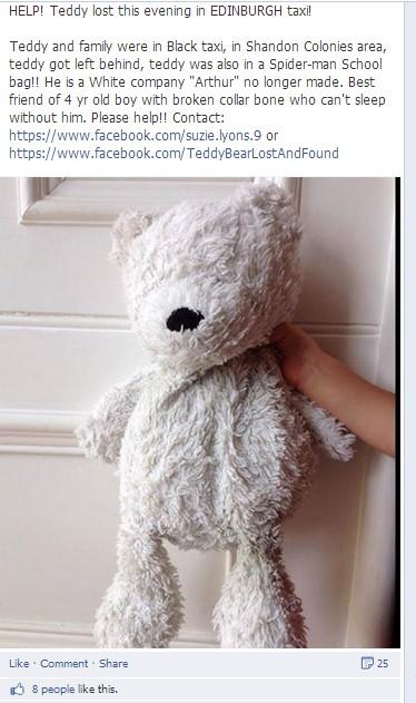 O dono desse ursinho de pelúcia, aos 4 anos, não consegue dormir sem o brinquedo (Foto: Reprodução)