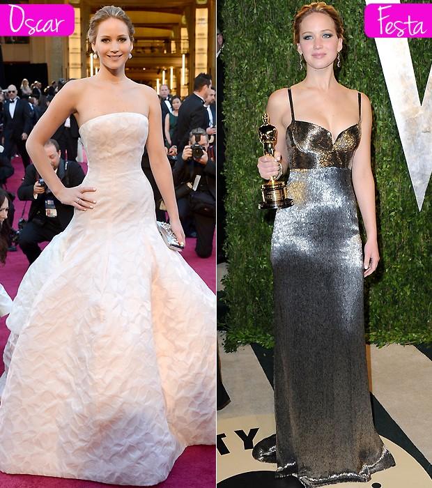Jennifer Lawrence usou Dior na premiação e Calvin Klein na festa da Vanity Fair (Foto: Getty Images)
