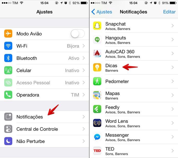 Acesse as configurações de notificações do app (Foto: Reprodução/Helito Bijora)
