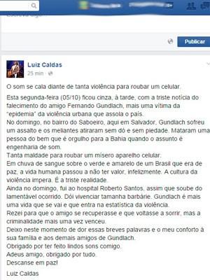 Luiz Caldas lamenta morte do técnico em som José Fernando Álvares Gundlach (Foto: Reprodução/Facebook)