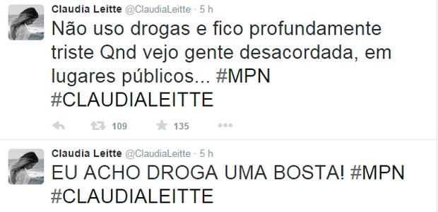 Posts de Claudia Leitte tiveram muitas compartilhadas na rede social (Foto: Reprodução/Twitter)