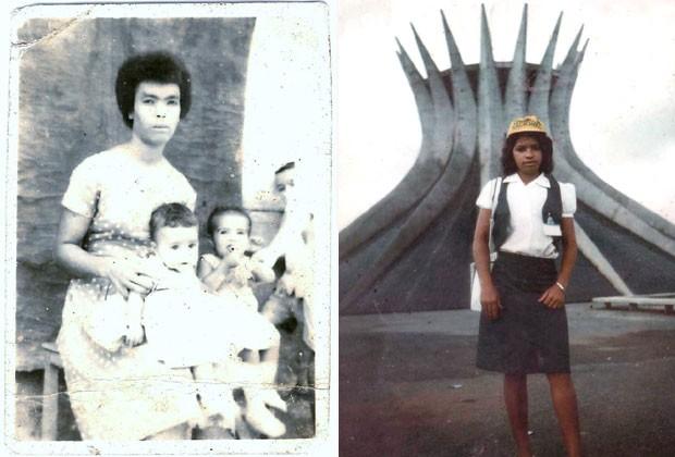 Dois momentos da infância da juíza: ainda bebê (à dir), junto de uma das irmãs, no colo de um tia e madrinha; e em Brasília, escolhida como uma das melhores estudantes do país para assistir à posse do presidente João Figueiredo , em 1979 (Foto: Arquivo pessoal)