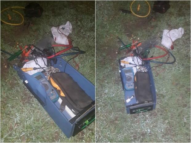 Falsa bomba se tratava de caixa de ferramentas (Foto: PM/Divulgação)