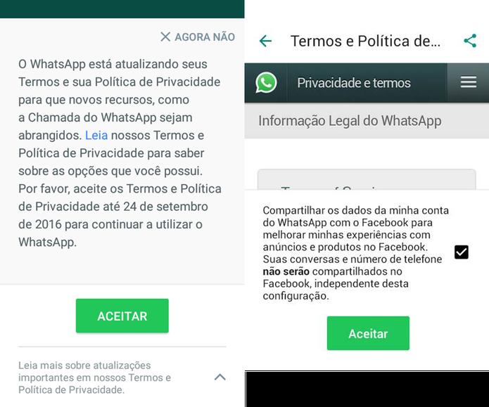Mensagem de compartilhamento de dados entre WhatsApp e Facebook (Foto: Divulgação/Facebook)