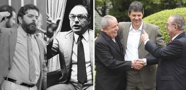 Em preto e branco, Lula e Maluf na d&#233;cada de 1980, quando eram inimigos poll&#237;ticos; na foto em cor, encontro sela alian&#231;a pela candidatura de Haddad (Foto: Arquivo/AE)