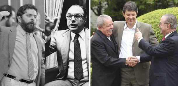 Em preto e branco, Lula e Maluf na década de 1980, quando eram inimigos pollíticos; na foto em cor, encontro sela aliança pela candidatura de Haddad (Foto: Arquivo/AE)