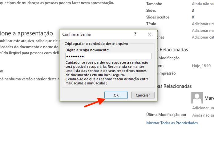 Confirmando a senha de bloqueio de uma apresentação do Microsoft Powerpoint (Foto: Reprodução/Marvin Costa)